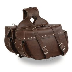 94d53e7894 Large Antique Brown Zip-Off PVC Throw Over Riveted Saddle Bag (16X11X6X22)